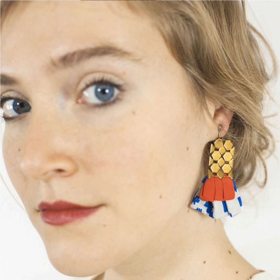 Hula red & blue earrings