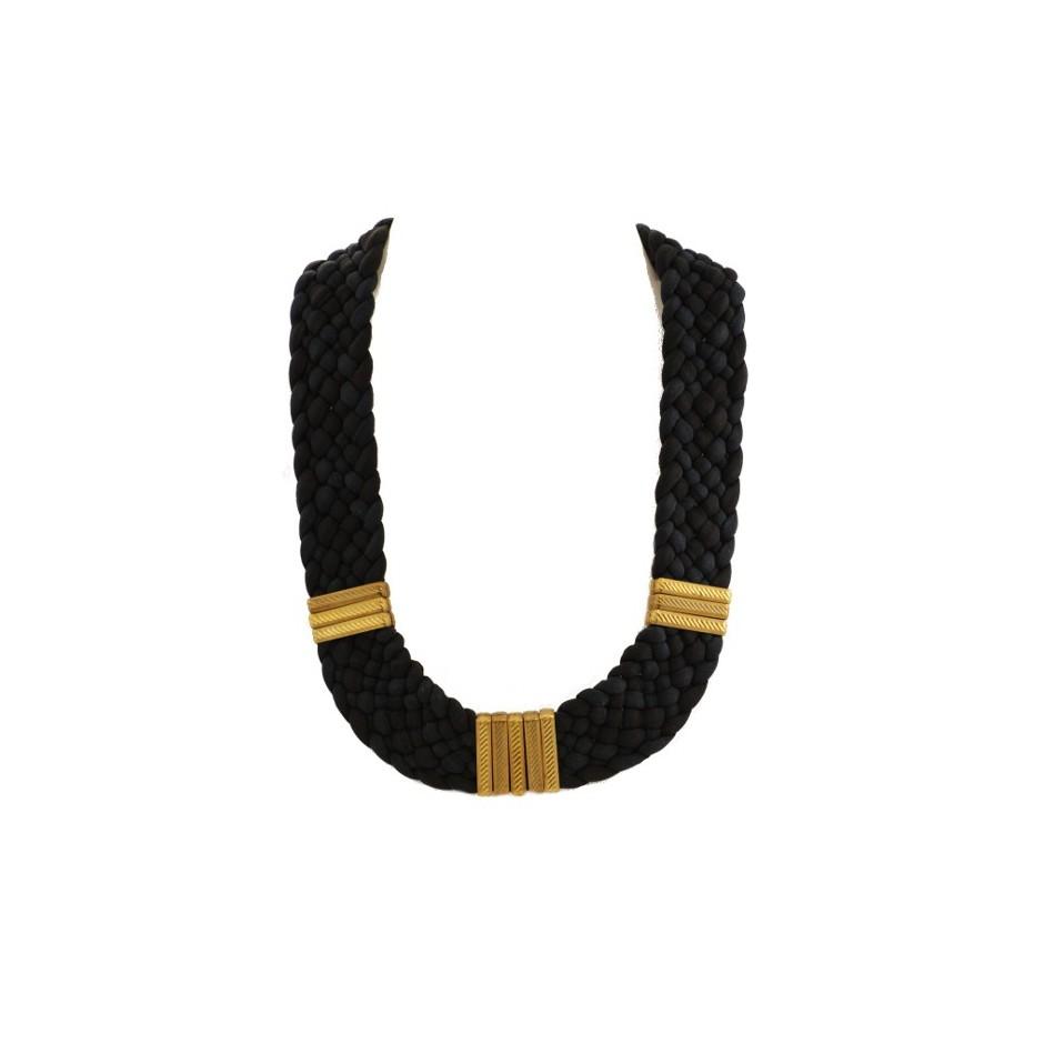 Collier Osiris noir et bleu marine