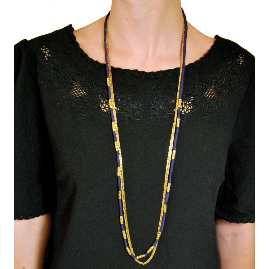 Alexandrie navy blue long necklace