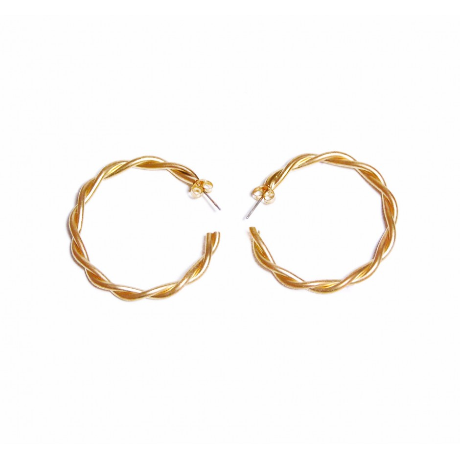 Golden large hoop earrings