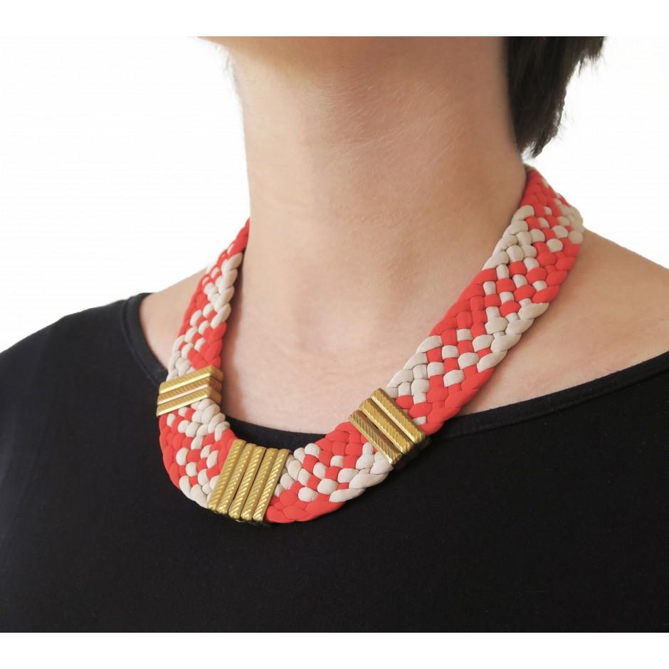 Collier Osiris rouge et ivoire