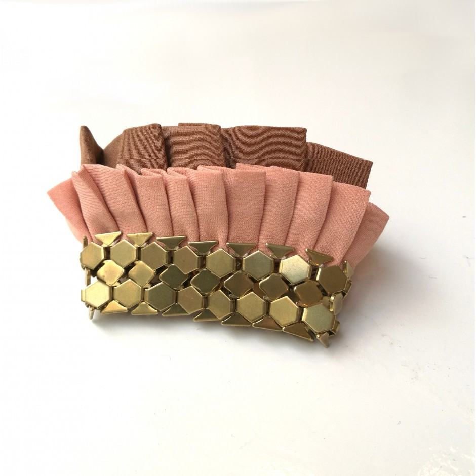 Hula pink and brown cuff bracelet