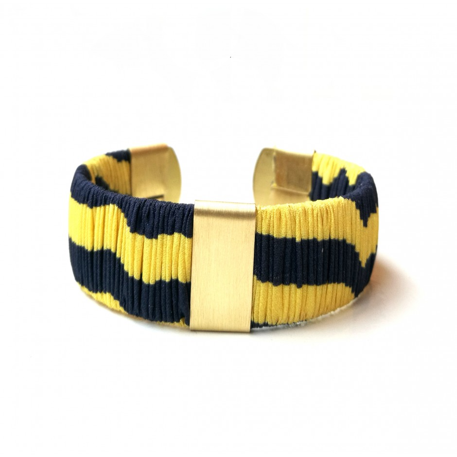 Manchette Twiggy à rayure bleu marine et jaune