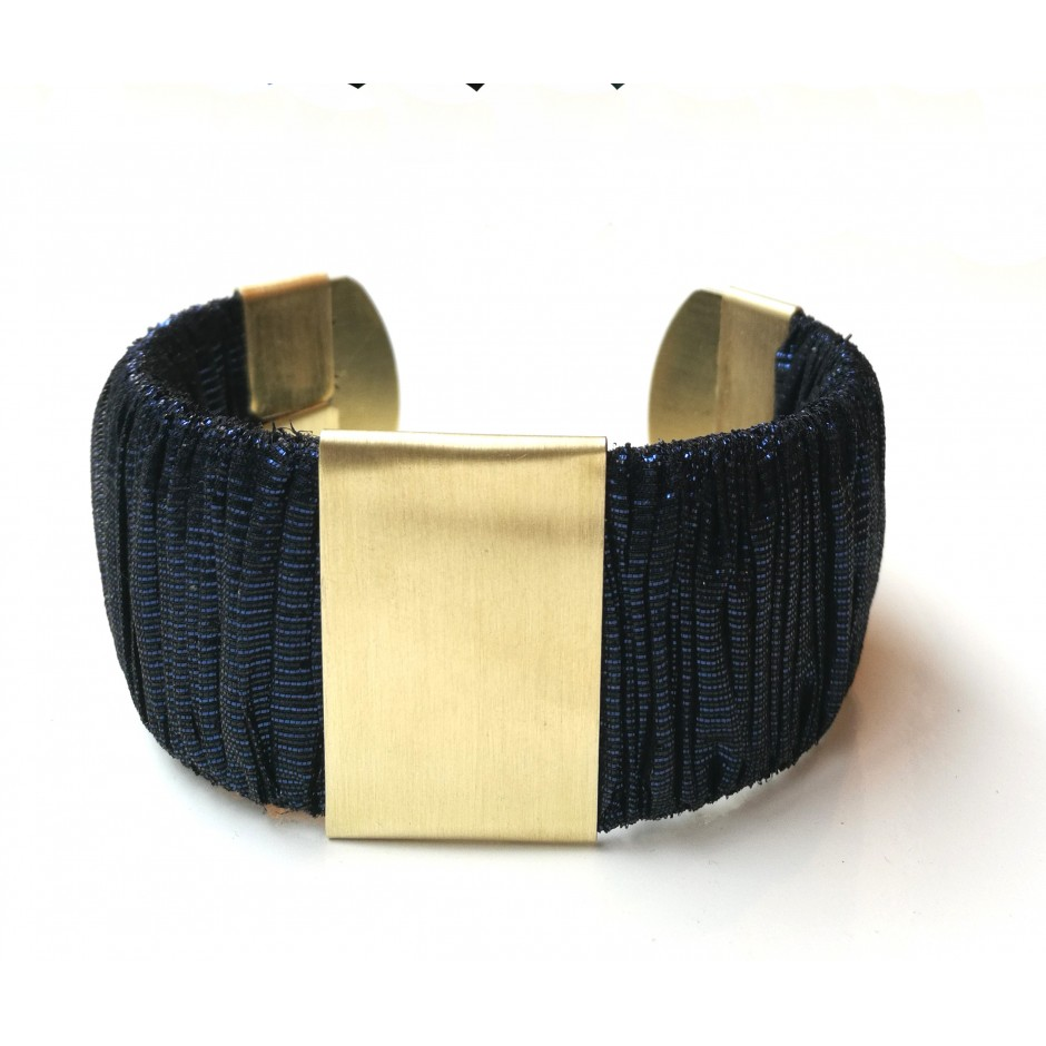 Twiggy black and khaki cuff bracelet