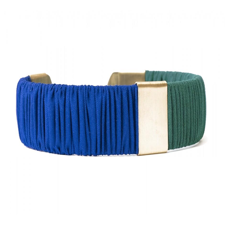 Manchette Twiggy bleu électrique et vert