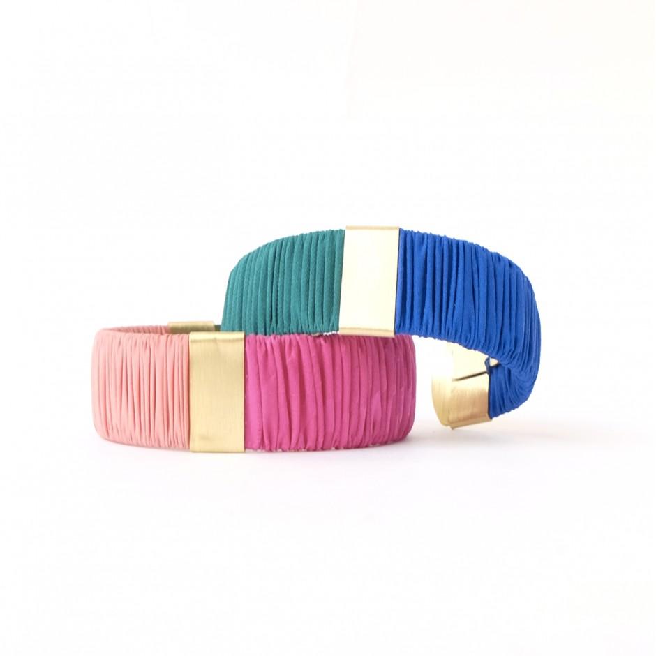 small Twiggy green and blue cuff bracelet