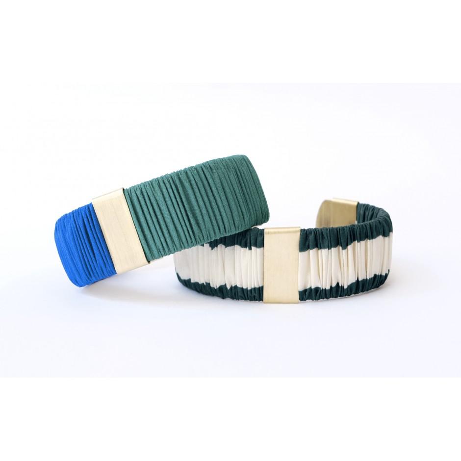 Twiggy black and khaki cuff bracelet