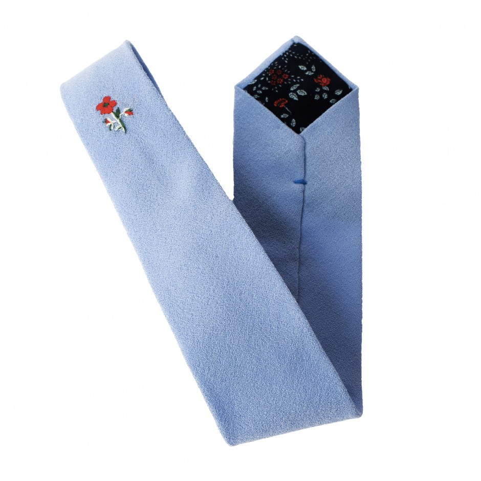 Embroided sky-blue tie