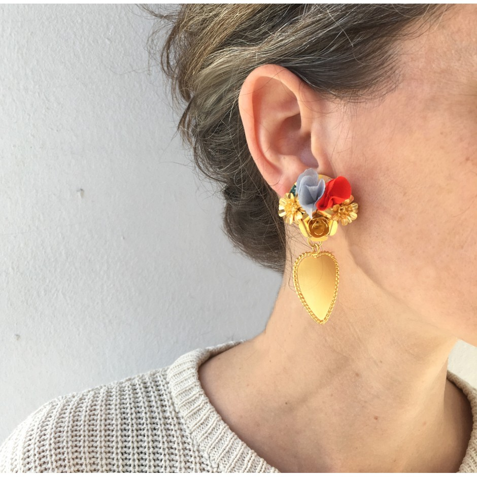Boucles d'oreille Frida clip rouges