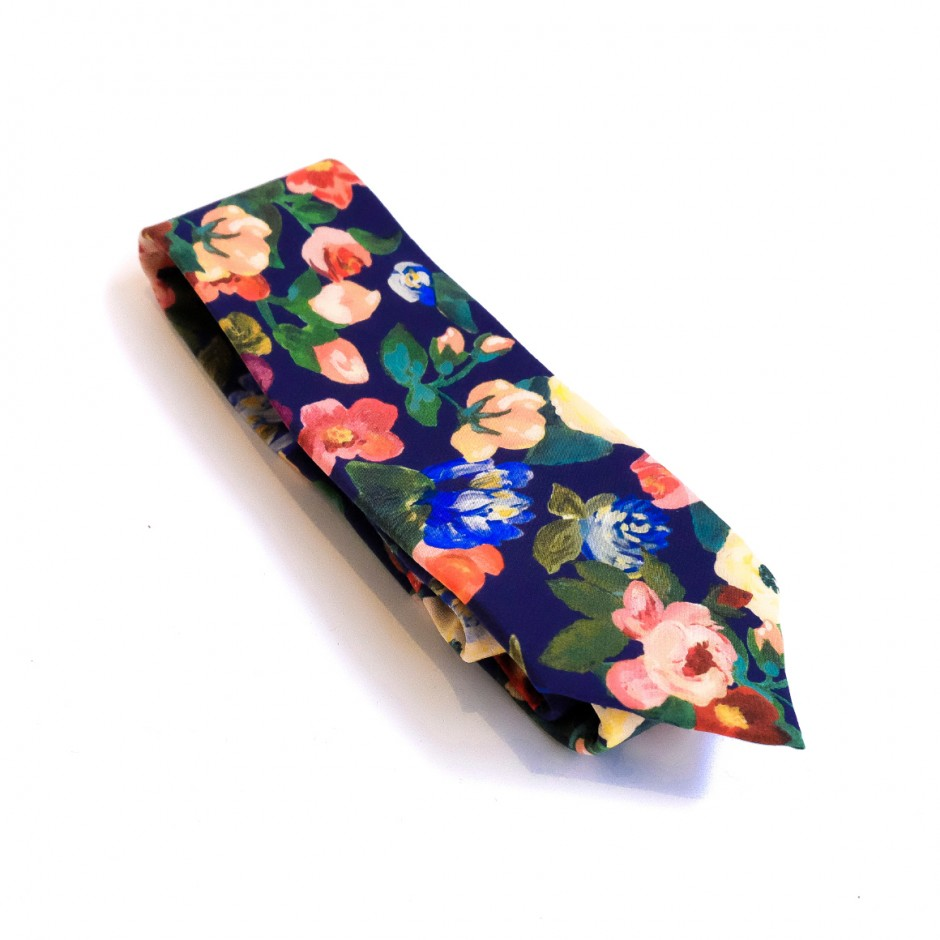 Blue tie with flowers