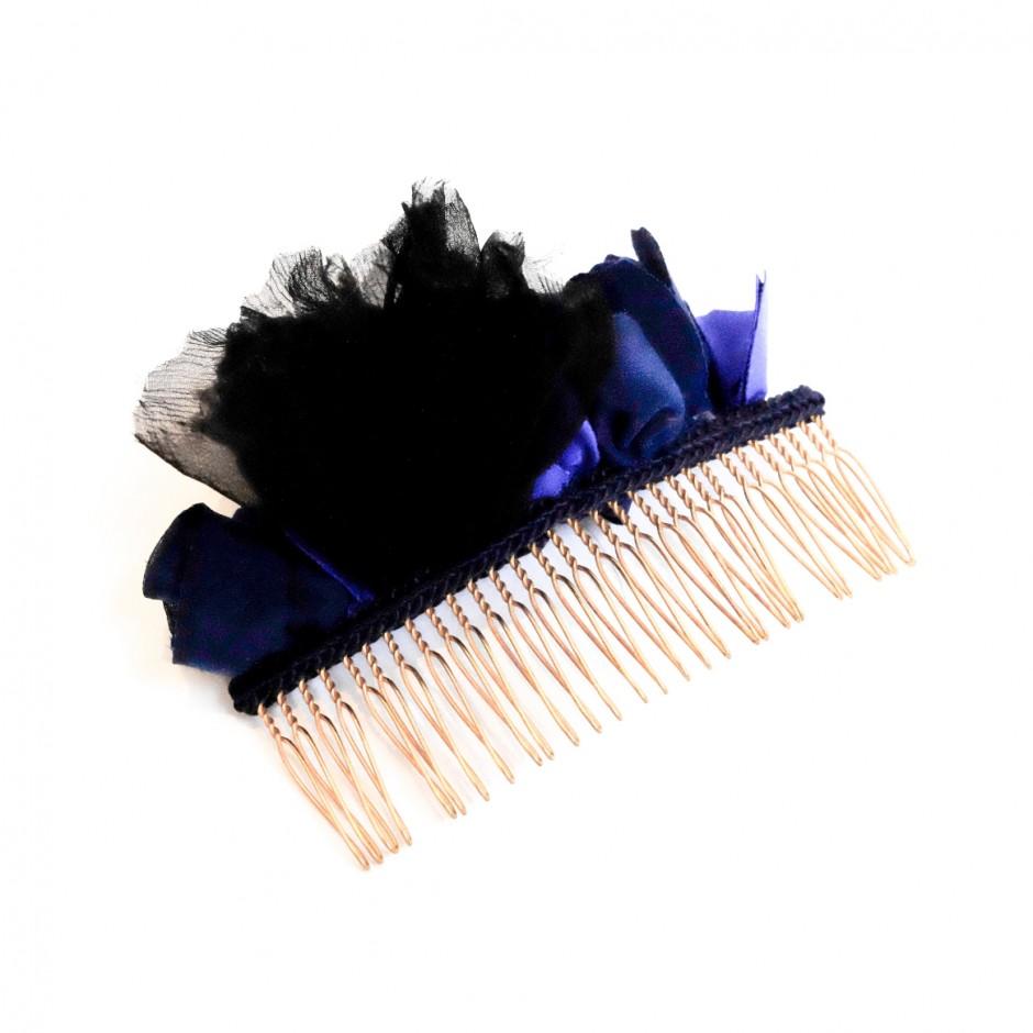 Peigne Manuela noir et bleu GM