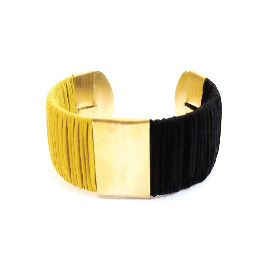 Large Twiggy black and yellow cuff bracelet