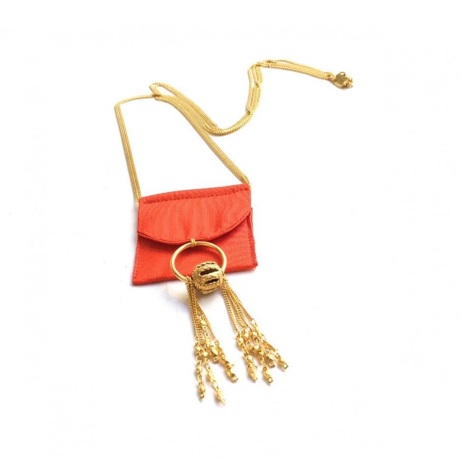 Collier Huichol rouge corail