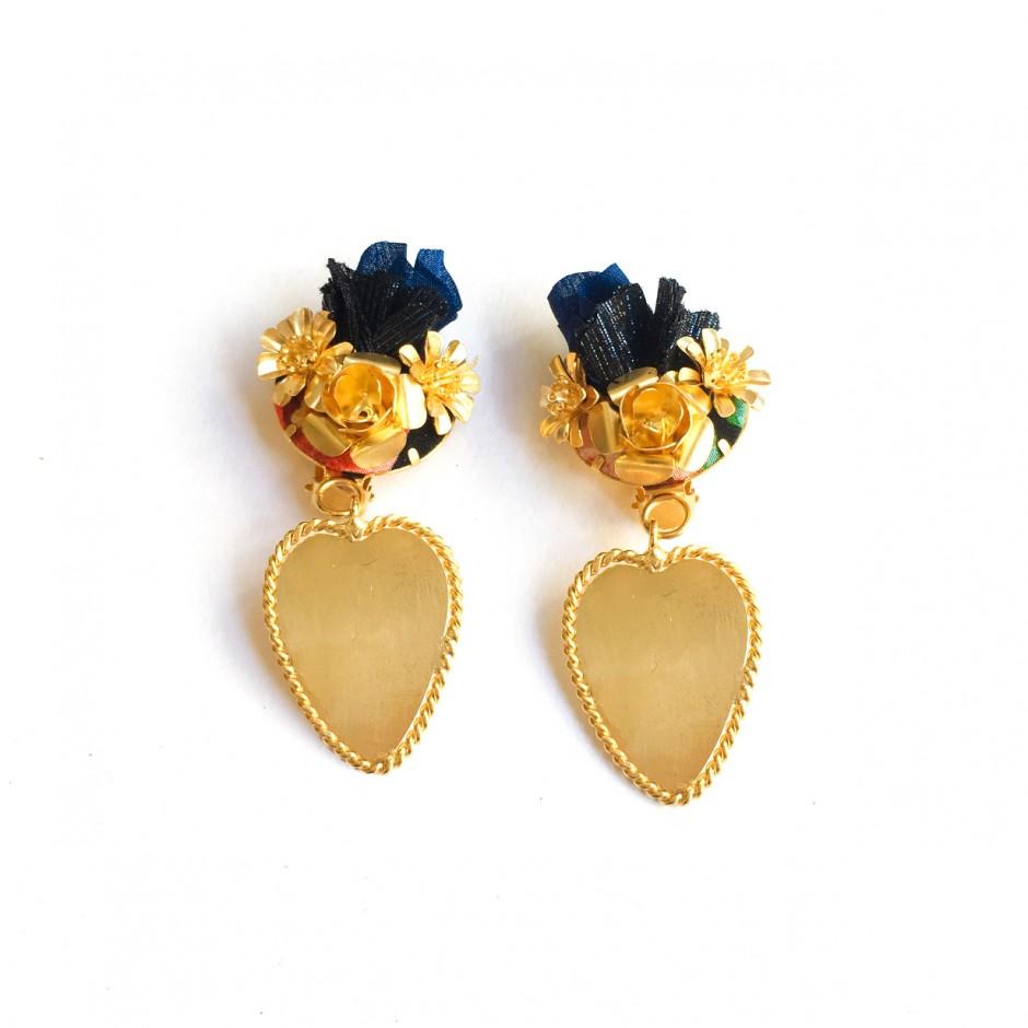 Boucles d'oreille Frida clip bleues