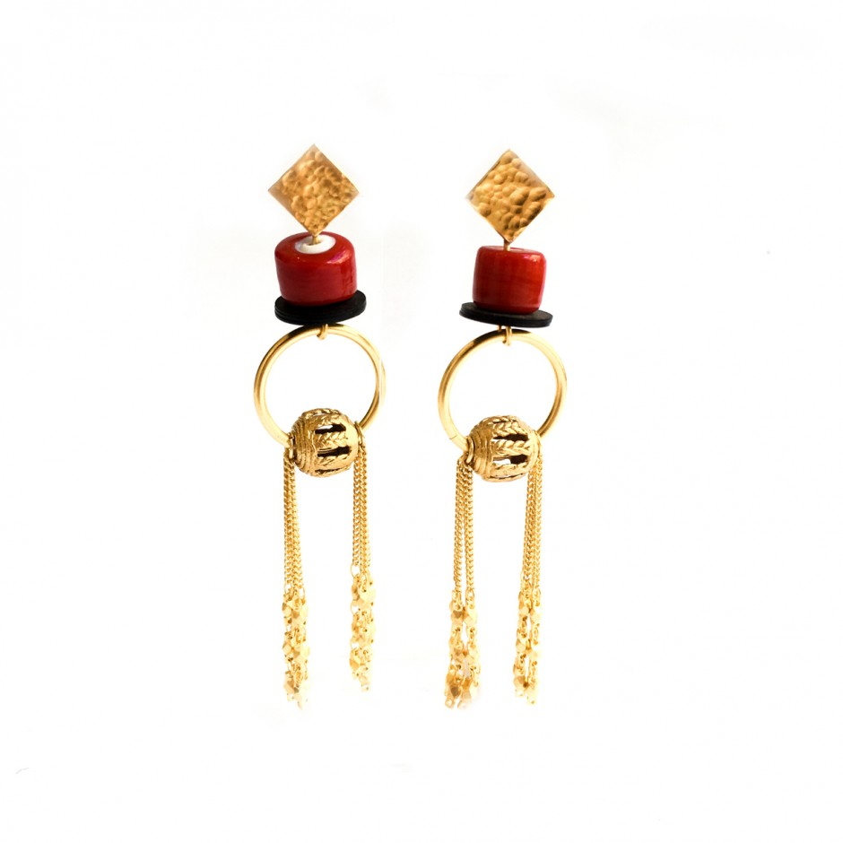 Red earrings Charm