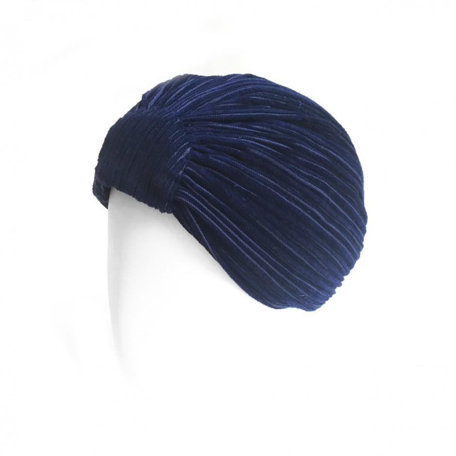 Navy Blue Velvet Turban