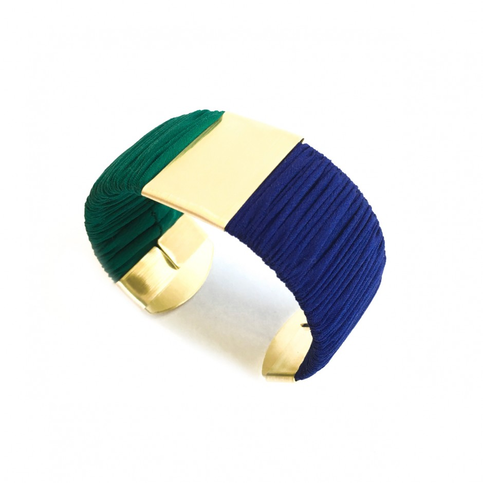 Large Twiggy electric blue and green cuff bracelet