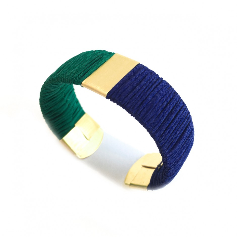 small Twiggy green and blue cuff bracelet