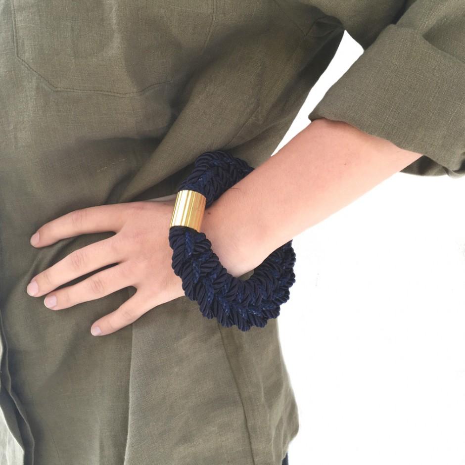 Guadalupe navy cuff bracelet