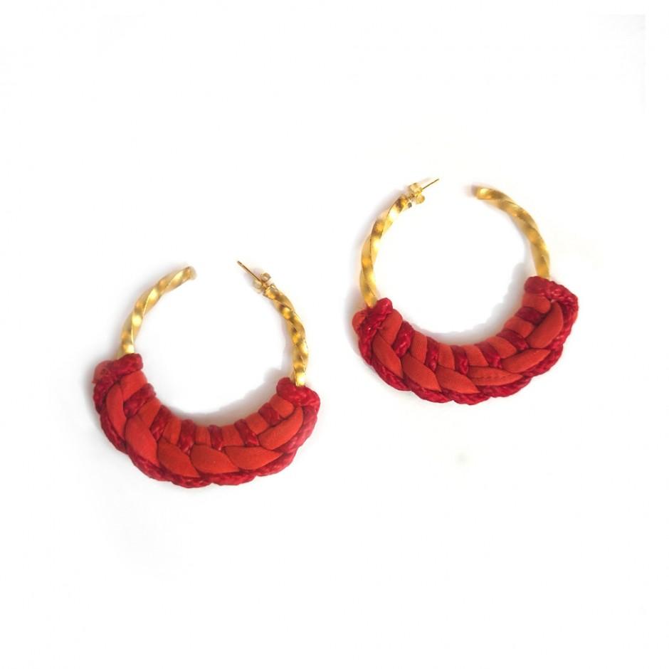 Boucles d'oreille Guadalupe rouge orangé