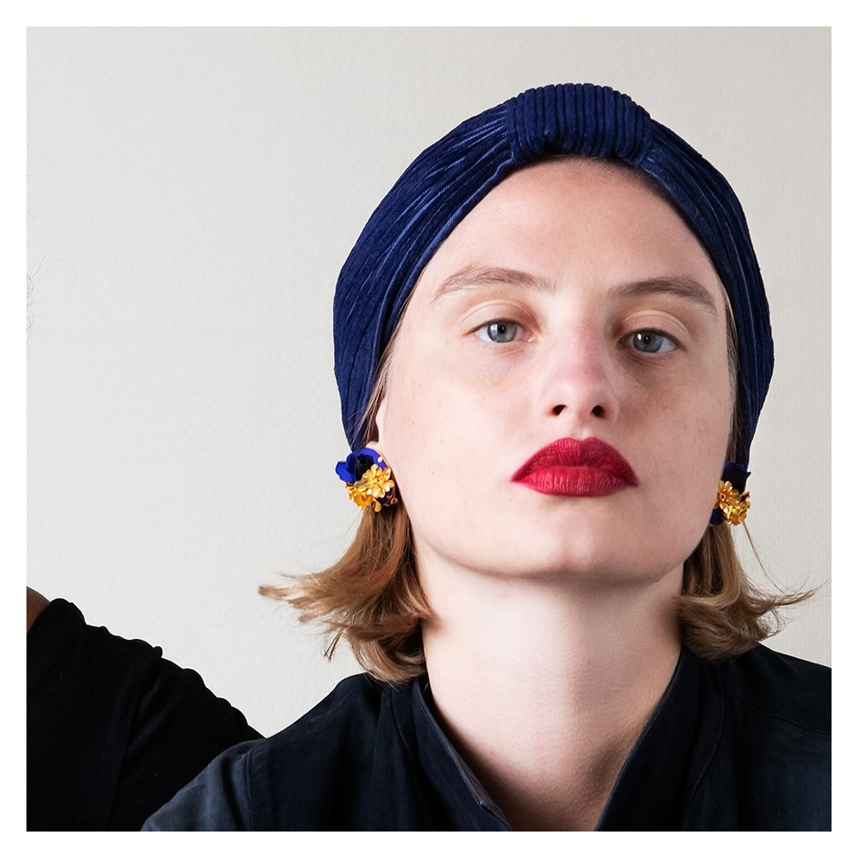 Navy Blue Velvet Turban