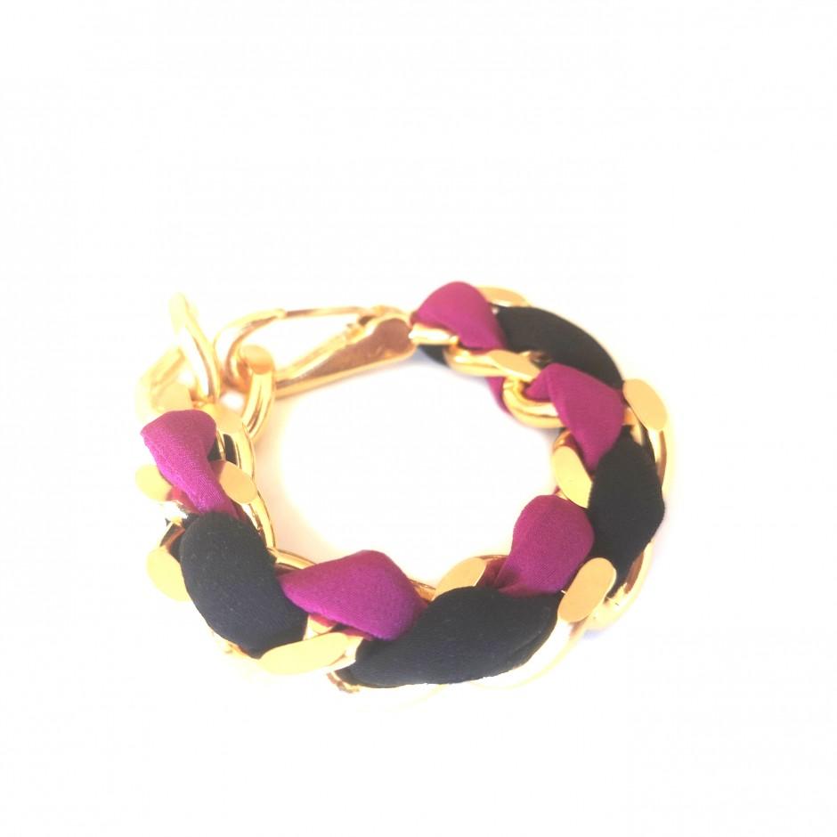 Bracelet Mousqueton black and fuchsia