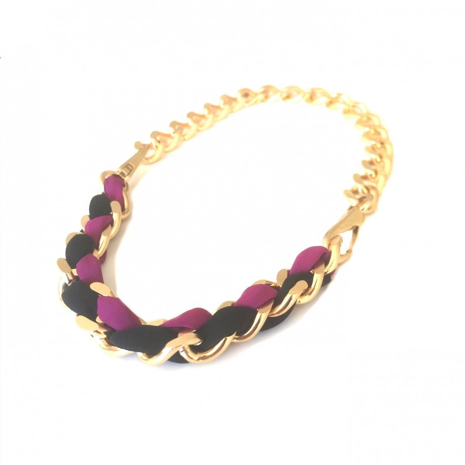 Necklace Mousqueton black and fuchsia