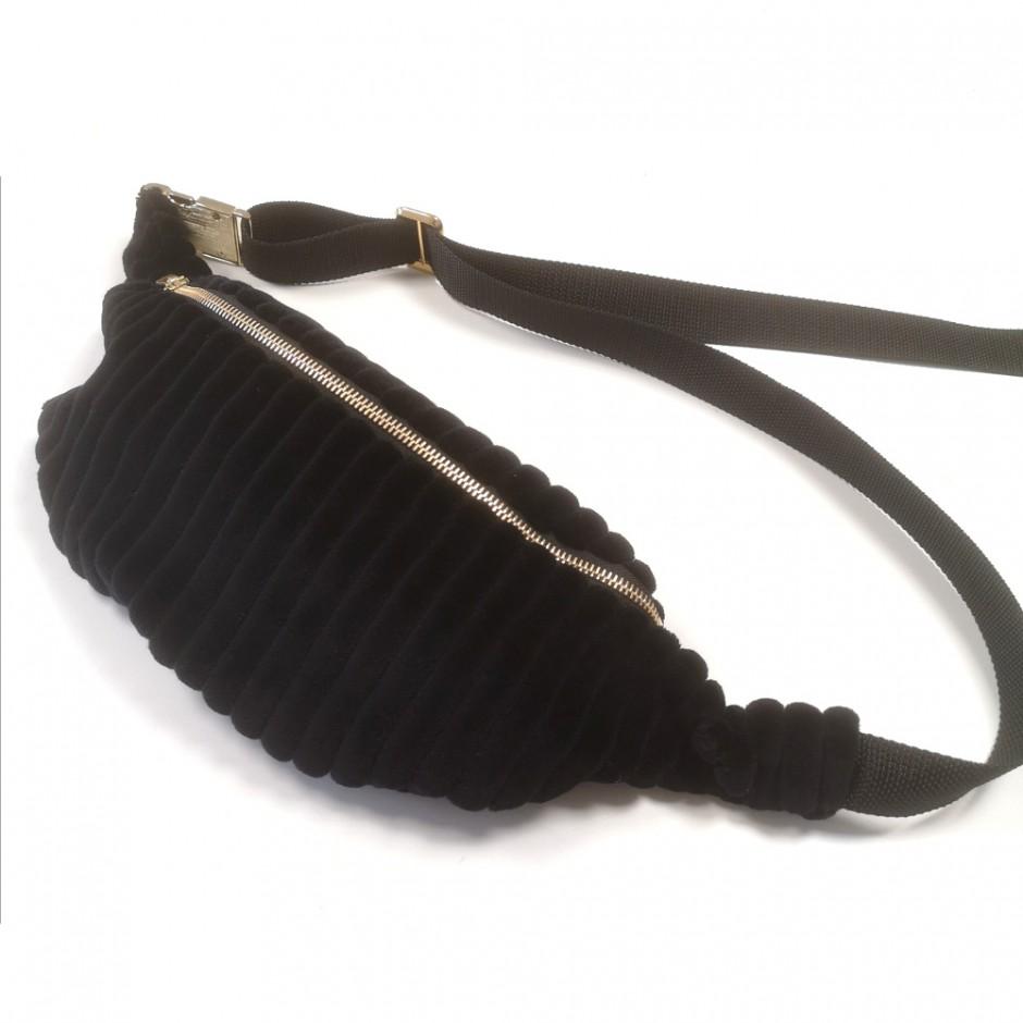 Black velvet bumbag