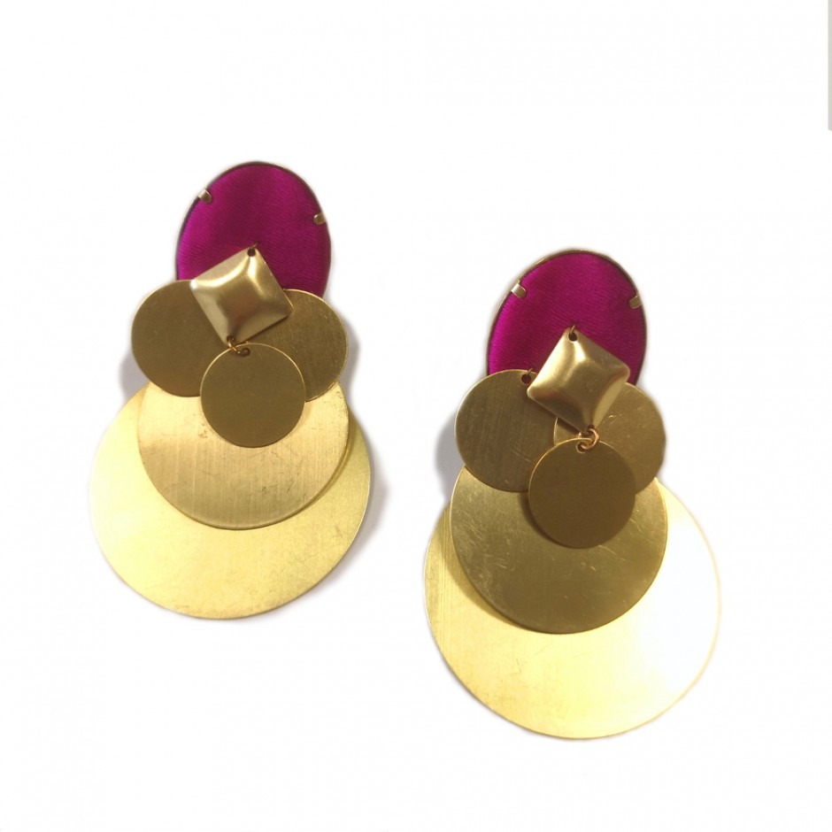 Boucles d'oreille Beatriz clip fuchsia