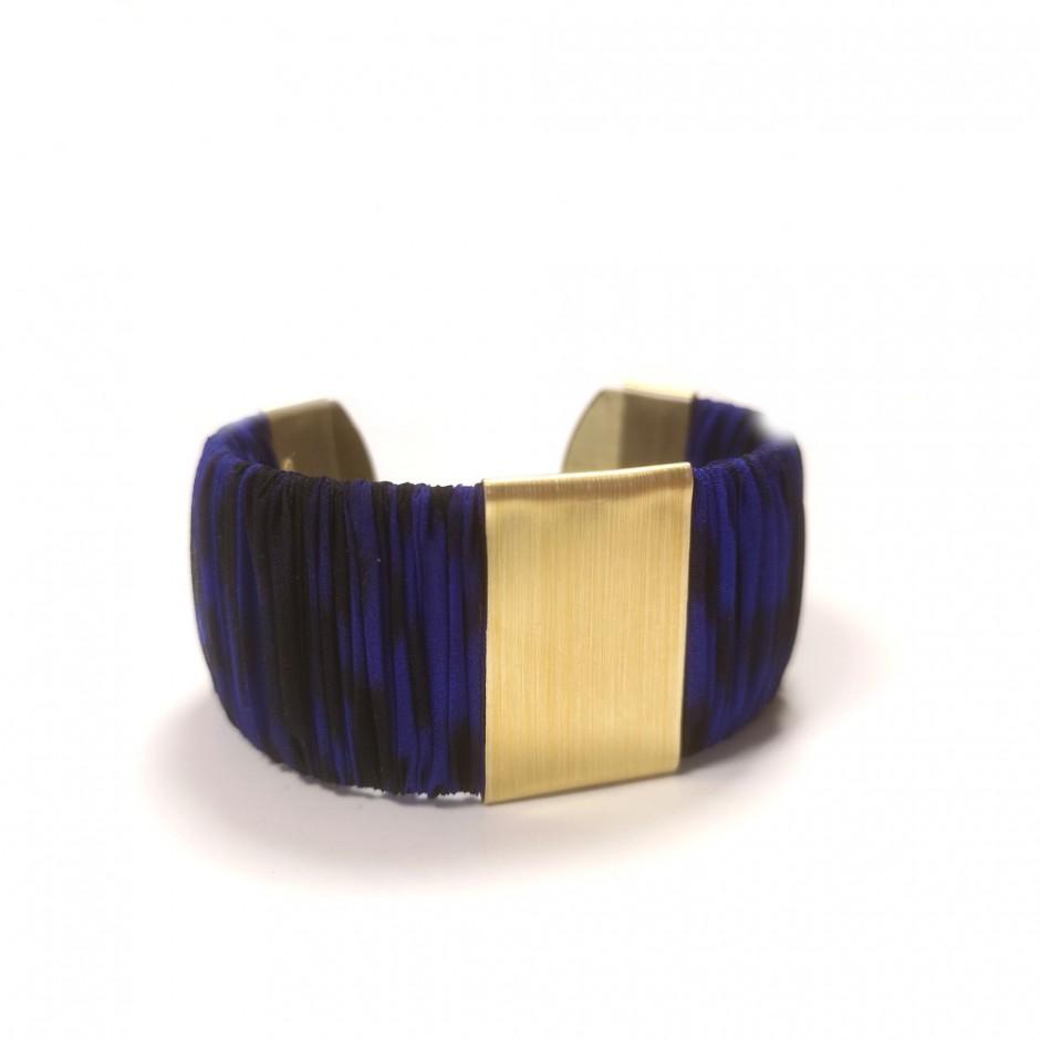 Large Twiggy blue leopard cuff bracelet