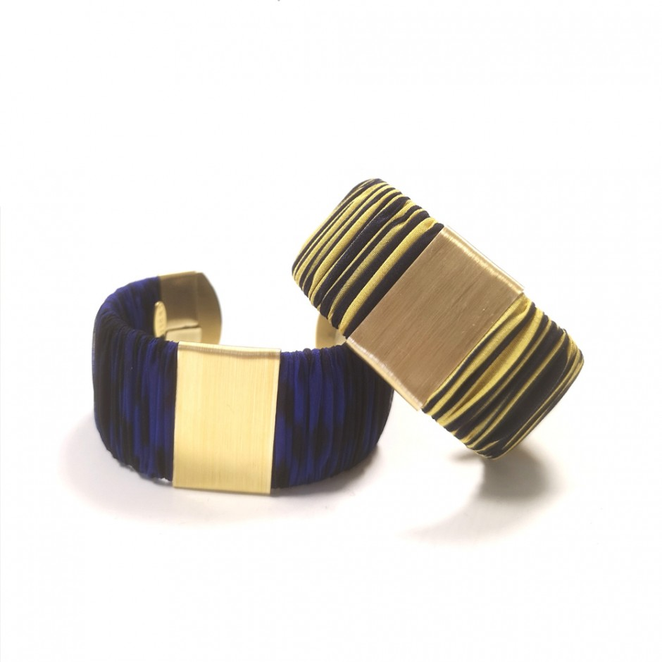Large Twiggy blue and yellow striped cuff bracelet