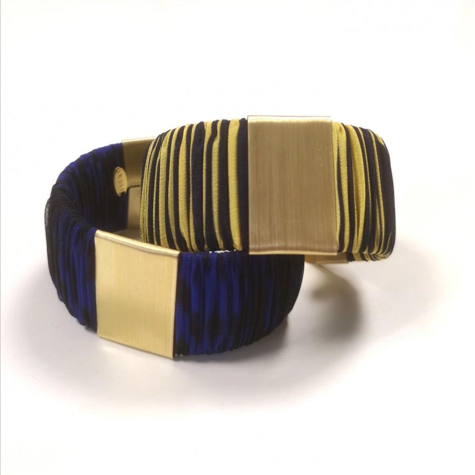 Large Twiggy blue and yellow striped cuff bracelet