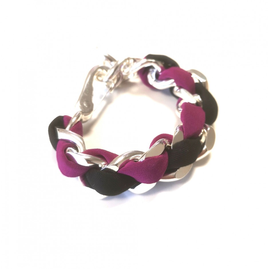 Silver Bracelet Mousqueton black and fuchsia