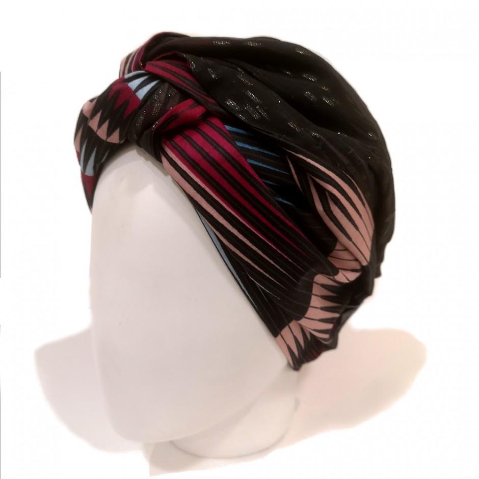 Turban Diawara noir et rose