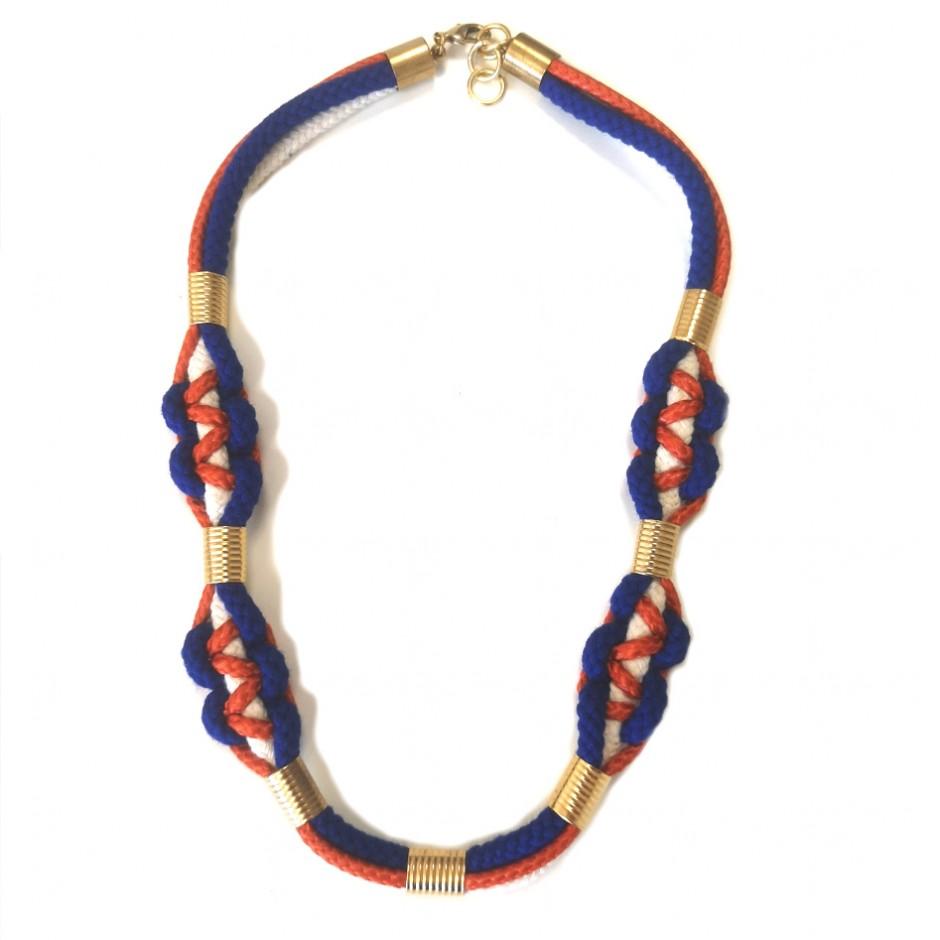 Collier M orange et bleu