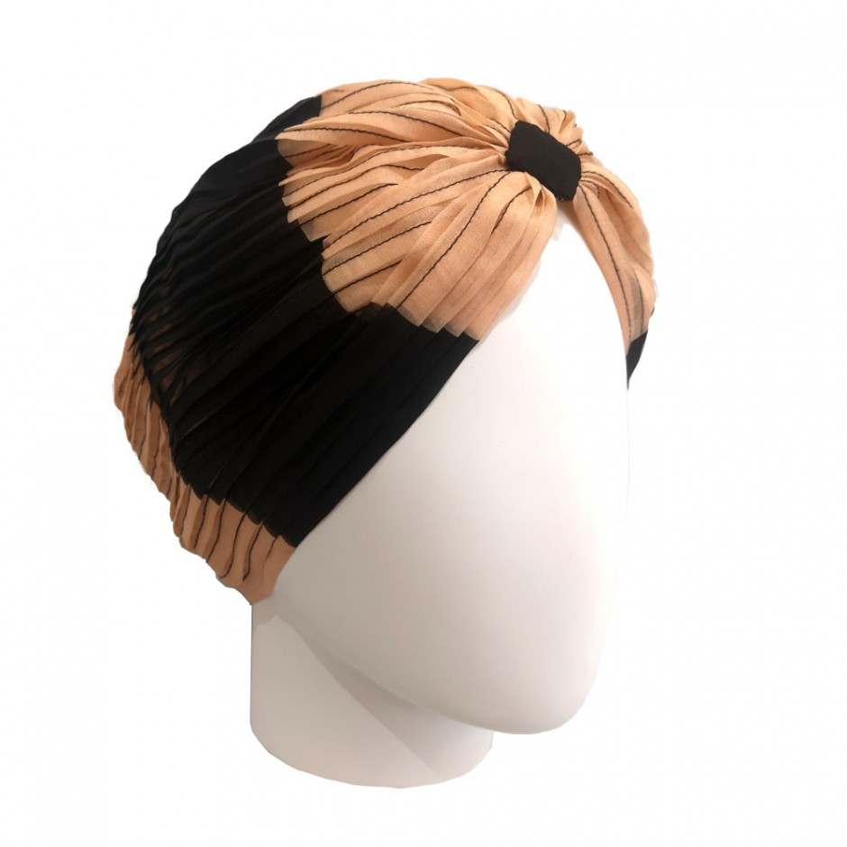 Mousseline black and nude turban